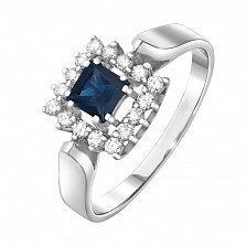 Золотое кольцо Статика с сапфиром и бриллиантами