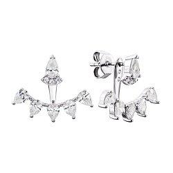 Серебряные серьги-джекеты с фианитами 000134006