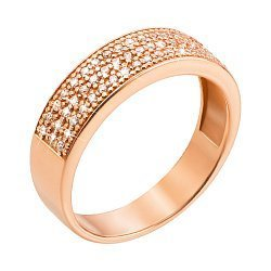 Кольцо из красного золота с фианитами 000005631