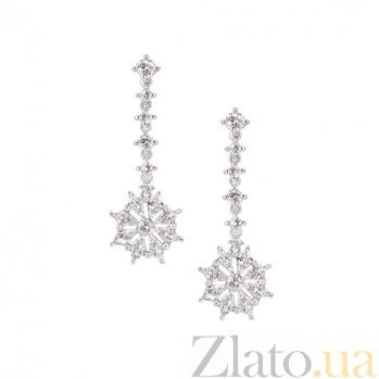 Золотые серьги с бриллиантами Снежинки 1С698-0004