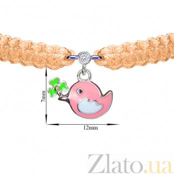 Детский плетеный браслет Птичка и клевер с эмалью и фианитом, 10х20см 000080604