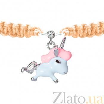 Детский плетеный браслет Единорог с эмалью и фианитом,15-15см 000080615