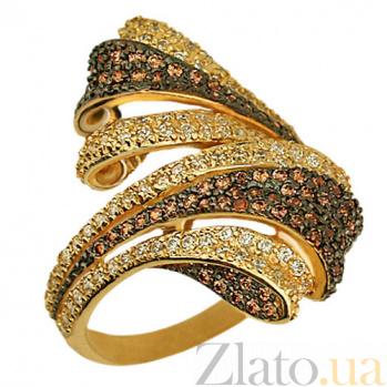 Кольцо из красного золота с фианитами Буря в пустыне VLT--TT1037-1