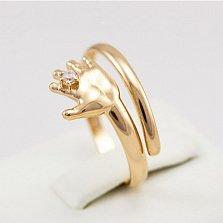 Кольцо из красного золота с фианитом Я с тобой