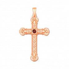 Декоративный узорный крестик из красного золота с гранатом 000131544