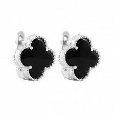 Серебряные серьги Магический клевер с черным ониксом и родием в стиле Ван Клиф