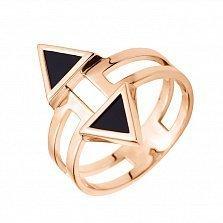 Золотое кольцо Направляющие с фантазийной шинкой, стрелками и черным агатом