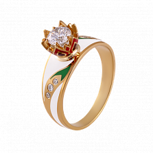 Золотое кольцо с цветной эмалью и бриллиантами Беззаботное счастье