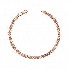 Золотой браслет Шангри в красном цвете плетения колосок, 3мм