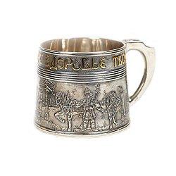 Серебряная кружка Богатыри с позолотой
