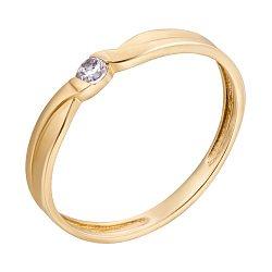 Золотое помолвочное кольцо Лиара в желтом цвете с белым фианитом