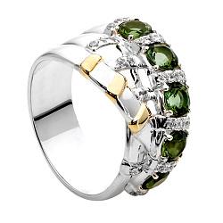 Кольцо из серебра и золота с турмалином Мира 000030021