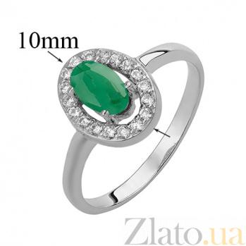 Серебряное кольцо Лия с зеленым агатом и фианитами 000032424