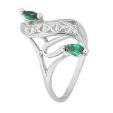 Серебряное кольцо с зелеными фианитами Альфия