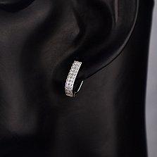 Серебряные серьги Прайм в усыпке белых фианитов