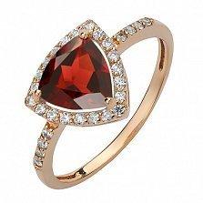 Золотое кольцо Габриэлла с гранатом и фианитами