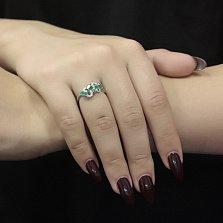 Серебряное кольцо Шарма с зелеными агатами и цирконием