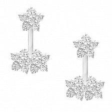 Серебряные серьги-джекеты Три цветка с цирконием