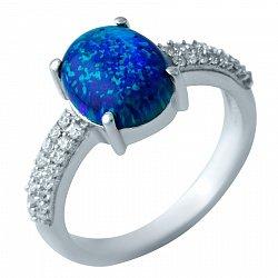 Серебряное кольцо с синим опалом и фианитами 000074301