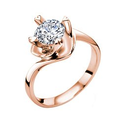 Помолвочное кольцо Любовный вихрь в красном золоте с бриллиантом 0,3ct в крапанах-сердцах