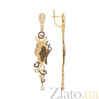 Серьги из желтого золота с коньячными и белыми фианитами Джульетта VLT--ТТТ2490