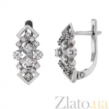 Серебряные серьги с фианитами Жаклин AUR--82001б