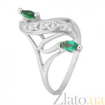 Серебряное кольцо с зелеными фианитами Альфия 000028133
