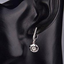 Серебряные серьги-подвески Мартиника с фианитами и черной эмалью в стиле Булгари