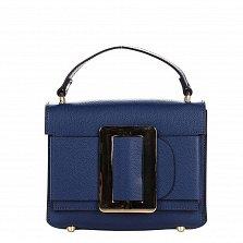 Кожаный клатч Genuine Leather 1683 темно-синего цвета с короткой ручкой и декоративной пряжкой
