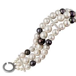 Тройной жемчужный браслет Антейя с серебряными застежкой и вставками в фианитах