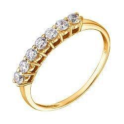 Кольцо в желтом золоте с цирконием Swarovski 000070986