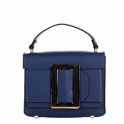 Кожаный клатч Genuine Leather 1683 темно-синего цвета с короткой ручкой и декоративной пряжкой 00009