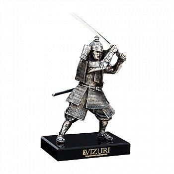 Бронзова скульптура Самурай із мечем на обсидиановой підставці 000051967