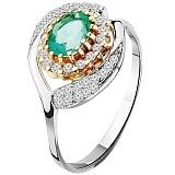 Золотое кольцо с изумрудом Влюбленность