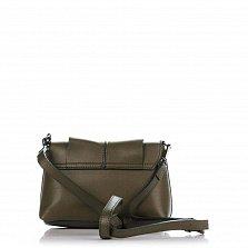 Кожаный клатч Genuine Leather 1382 болотного цвета с декором на клапане и плечевым ремнем