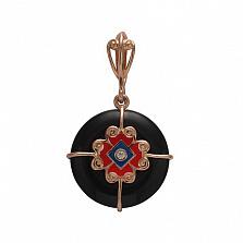 Золотой подвес Агра с агатом, цирконием и эмалью