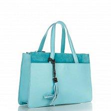 Кожаная деловая сумка Genuine Leather 8914 бирюзового цвета на молнии, с декоративной кистью