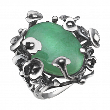 Серебряное кольцо Цветочная драгоценность с зеленым авантюрином и чернением