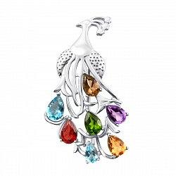 Серебряная брошь с россыпью полудрагоценных камней 000136604