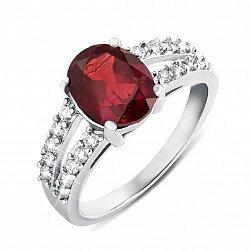 Серебряное кольцо с гранатом и фианитами 000134946