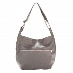 Кожаная сумка на каждый день Genuine Leather 8695 темно-серого цвета на молнии с регулируемым ремнем