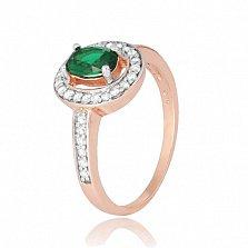 Серебряное кольцо с зеленым фианитом Вистилия