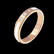 Обручальное кольцо из желтого золота Беверли с белой эмалью и бриллиантами