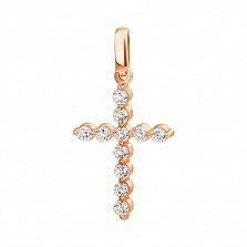 Золотой декоративный крестик Мистерия с кристаллами Swarovski