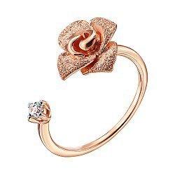 Кольцо из красного золота с цирконием и родированием 000138358
