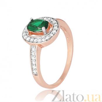 Серебряное кольцо с зеленым фианитом Вистилия 000028438