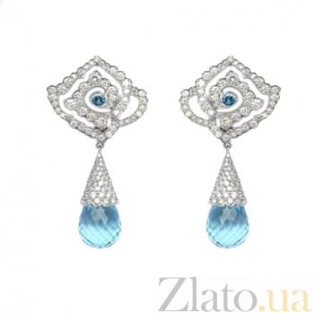 Золотые серьги с бриллиантами и топазами Bali ZMX--EDT-00503w