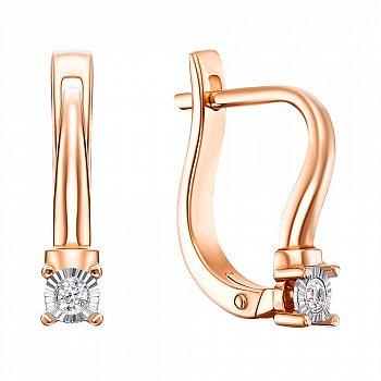 Серьги в комбинированном цвете золота с бриллиантами и алмазной гранью 000134791