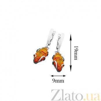 Серебряные серьги Медовый рассвет с имитацией янтаря 000053994