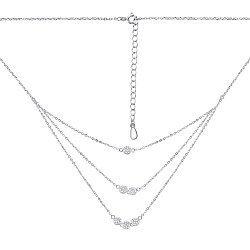 Серебряное колье с тройной цепочкой и фианитами 000126871